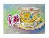 Friendship Tea Notecards - 6 Blank Frameable Teacup Cards