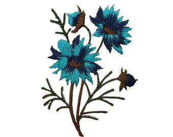 ID #6596 Brown Blue Wildflowers Flowers Plant Iron On Embroidered Patch Applique
