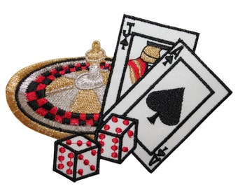 ID #8606 Casino Games Gambling Roulette BlackJack Dice Iron On Applique Patch