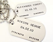 Personalized Dog Tag Necklace - Custom Hand Stamped Pair of Stainless Steel Dog Tags - Mens Jewelry - Wedding Daddy Anniversary Couples Gif