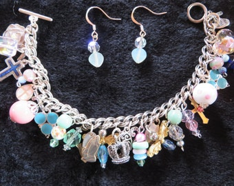Christian Charm Bracelet and Earrings - Pastel Pink, Blue and Mint - 7.5 inches - Spring