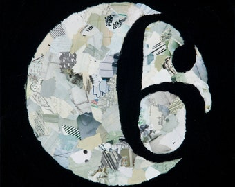 mixed media original: '6/Awareness' black and white painting, mixed media art, numbers, collage
