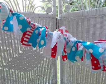 Aqua and Red fabric banner,Birthday, photo prop,baby shower