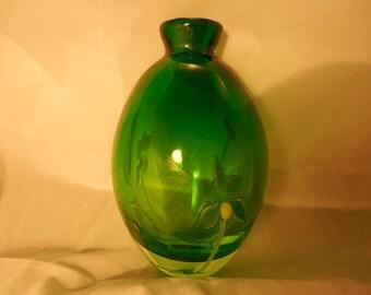 Murano Emerald Green Hand-Blown Glass Vase     g259