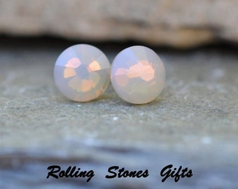 7.27mm, Light Gray Opal, Swarovski Studs, Flat Back Earrings, Stud Earrings, Small Crystal Studs Rhinestone Studs, Small Crystal Studs