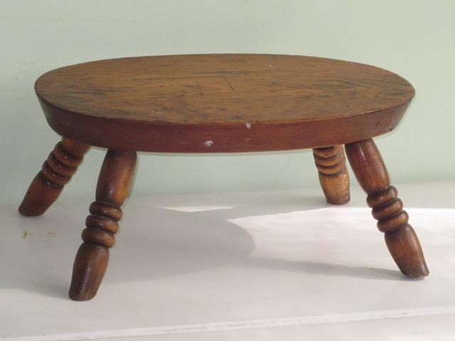 Vintage Primitive Old Wood Splay Leg Footstool