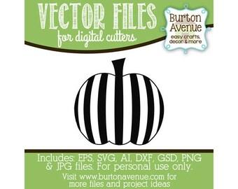 Striped Pumpkin Vector Digital Cut File (eps,svg, gsd,dxf, ai, jpg, png)