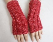 Red knit gloves, Fingerless Gloves, Red Knit mittens, For Her Gift İdeas, women mittens, Winter Gloves, Arm Warmers