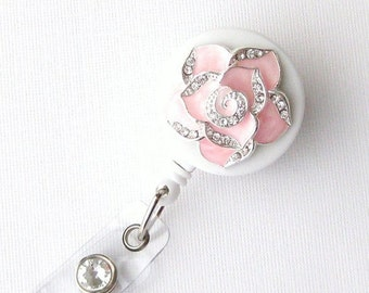 Mini Pink Petal Bling - Pretty ID Holder - Unique Badge Reel - Stylish Badge Clip - Nurse Jewelry - Teacher Gift - RN Badges - BadgeBlooms