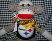 Pittsburg Steelers Football Classic Brown Red Heel Sock Monkey Doll