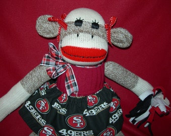 San Francisco Forty-Niners Football Brown Red Heel Sock Monkey Girl Doll/Cheerleader