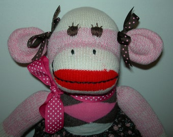 My Brown Eyed Girl Pretty In Pink Sock Monkey Doll