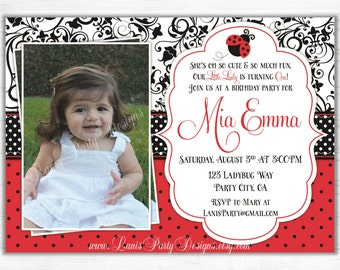 Ladybug Birthday Invitation - 1st First Red Green Invites Damask Polks Dots Picture Photo Baby Shower - DIY Printable Digital