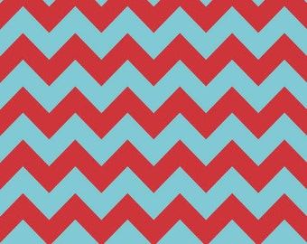 Medium Chevron Aqua/Red by Riley Blake Designs -  1/2 Yard Cut - Chevron Fabric