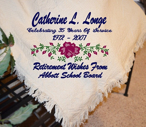 Personalized Retirement Afghans Personalized Retirement
