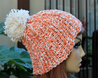 Hand Knit, 100 Percent Organic Cotton, Soft, Nubby, Cream and Orange, Rib Knit, Beanie Hat with Large, Shaggy, Cream Pom Pom Spring Summer