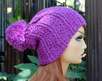 Hand Knit, Plum Purple, Slouchy, Over Sized, Rib Knit, Acrylic, Beanie Hat  for Women or Men, Fall, Winter, Back to School