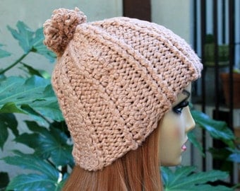 Hand Knit, 100 Percent Organic Cotton, Light Brown, Tan, Rib Knit, Beanie Hat with Small Shaggy Light Brown Pom Pom Woman Man Back to School