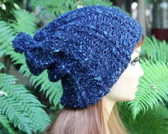 Hand Knit, Wool/Acrylic, Dark Teal with Light Aqua Flecks, Slouchy, Rib Knit, Beanie Hat with Small Pom Pom Women,  Men Fall, Winter