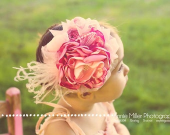 Baby Headband- Pink Baby Girl Headband- Flower Headband- Newborn Headband- Flower Girl Headband-Couture Headband-Matilda Jane
