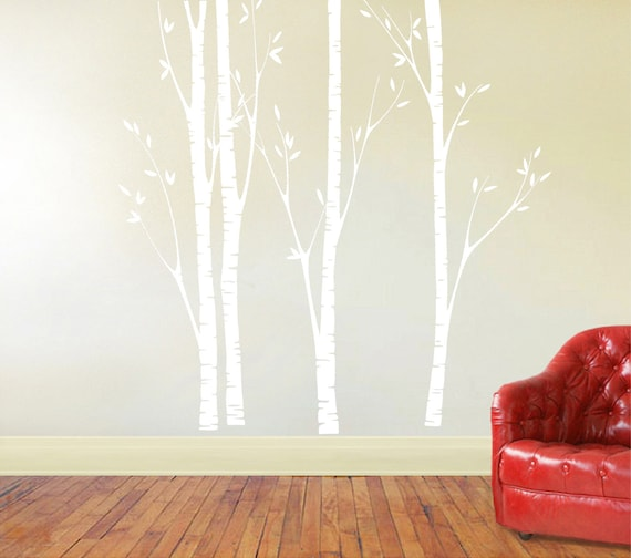 Birch Tree Decal Nursery Birch Decal Tree Wall Decal Four - Vinyl wall decals birch tree