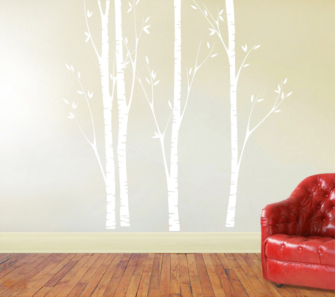 Birch tree decal nursery birch decal tree wall decal four description this vinyl decal features 4 individual birch trees amipublicfo Choice Image