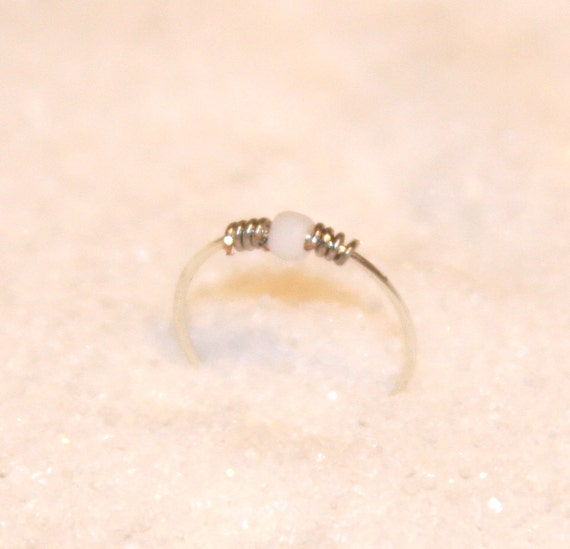1 extremely thin nose ring sterling silver white beaded