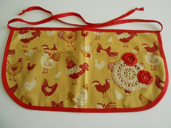 Crochet Egg Apron : Craft apron with pockets -rooster chicken print with vintage crochet ...