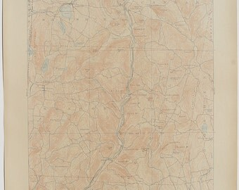 Antique Rare  CONNECTICUT CORNWALL, New York & Surrounding Areas 1909 US Geological Survey Topographic Map