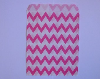 """25 Hot Pink and White Chevron Paper Treat Bags- Medium Snack Bitty Bags-Baby Shower Gift Bag- Candy,Treats,Utensil Baggy, Popcorn- 5"""" x 7"""""""