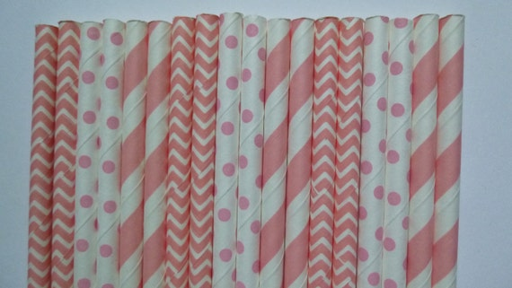 50 Mixed Light Pink Striped Chevron And Polka Dot Paper