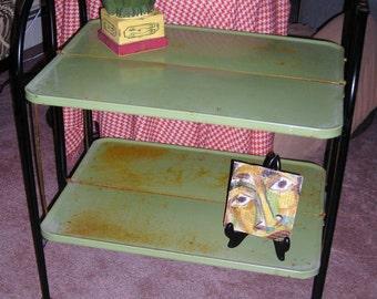 Bar Cart On Wheels  ....Folding Porcelain Enamel  Table....Relyon Products ....1960's Vintage Treasure....Avocado Green Table