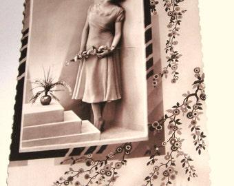 Vintage French Elegant Pinup Photo Postcard