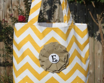 SMALL yellow and white CHEVRON stripe zigzag Handbag/ Diaper Bag/ Purse/ Tote/ Beach Bag with Canvas Flower and Removable Monogrammed Pin
