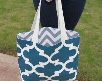 LARGE REVERSIBLE blue Quatrefoil and gray/white CHEVRON stripe zigzag Handbag/ Diaper Bag/ Purse/ Tote/ Beach Bag