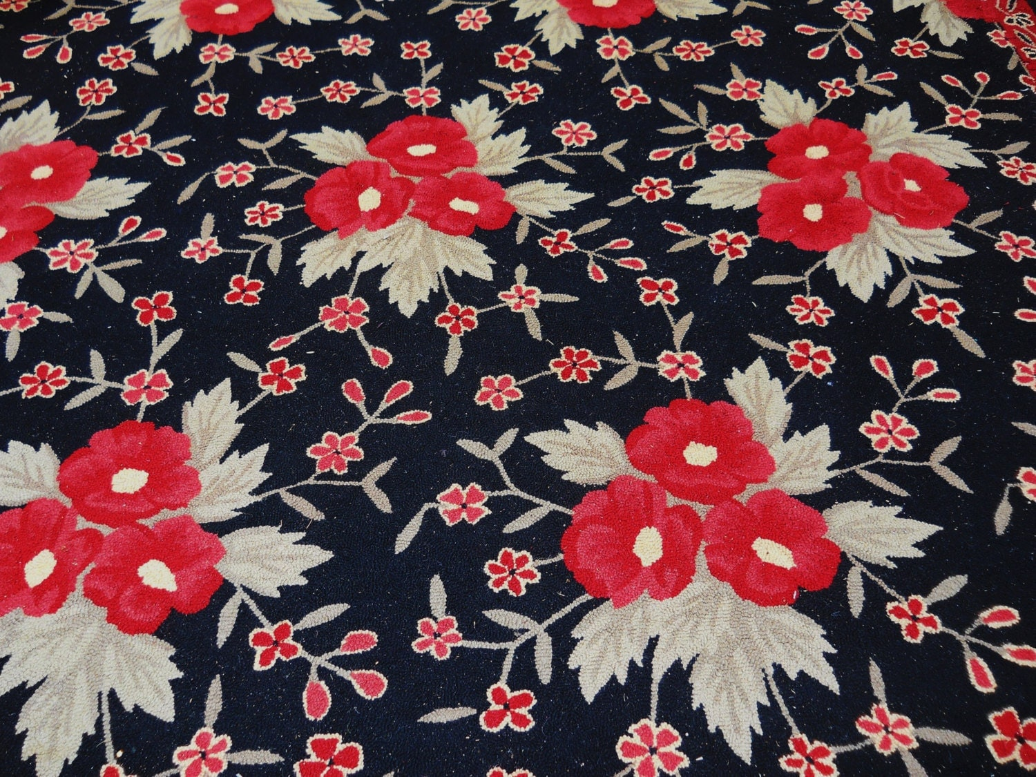 Large French Country Vintage Wool Hooked Red Poppy Floral Rug