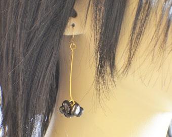 Black obsidian stone chip dangle earrings for pierced ears