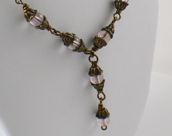 Victorian style antique brass lavender pink glass necklace