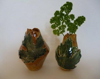 Wee Maple Leaf Bud Vases - Set of Two