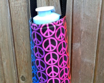 Water Bottle Carrier/Sling (Adjustable Strap)  Colorful Peace Signs Fabric, insulated