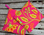 Two POT HOLDERS - Michael Miller Flowers on Hot Pink, Personalization Available