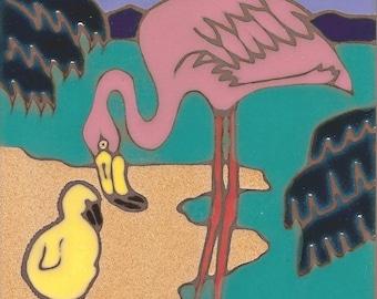 Pink Flamingo and Baby Hand Painted Ceramic Tile Original Art