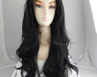 Black / Long Wavy Lace Front Wig Full Body Curly