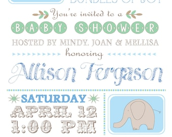 Vintage boy Baby Shower Invitation