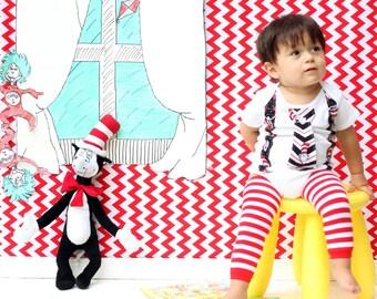 Baby Boys Tie Bodysuit with Suspenders  - Dr Seuss Cat in the Hat  - Boys Birthday, Seuss Photo Prop