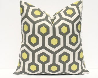 Throw Pillow Covers 18x18  Yellow Gray Pillow Honeycomb Bright Yellow Cushion Decorator Pillow Covers Housewares Printed Fabric both sides