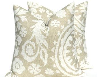 Throw Pillow Cover 20 x 20 inch. Decorator Pillow. Housewares.Suzani. Burlap Pillow. Cream Tan.Fall Pillow ZigZag Printed Fabric both sides