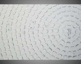 Painting Art Paintings Acrylic Painting White Silver Squares Large Canvas Art Wall Art Abstract Art Deco 48 x 24 by ilonka Made to Order