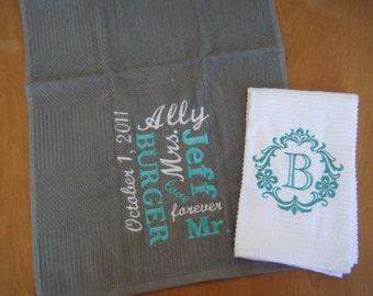 Personalized Kitchen Towel Set, Wedding Gift Set, Bridal Shower Gift, Monogram Kitchen Towel, Personalized Towel, Monogram Towel