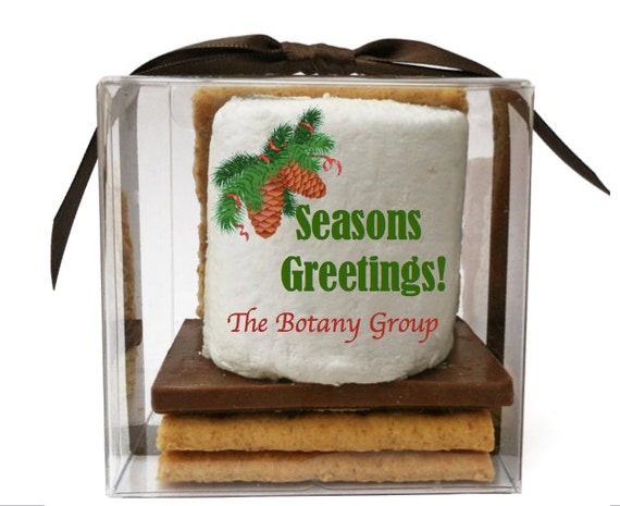 holiday guest favors winter wedding smore kits employee or client gifting idea custom printed marshmallow sweet sixteen